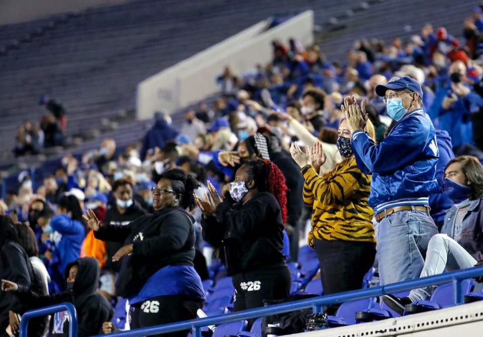 <strong>Faithful fans pack a section of the Liberty Bowl for Friday Night Lights on April 16, 2021.</strong> (Patrick Lantrip/Daily Memphian)