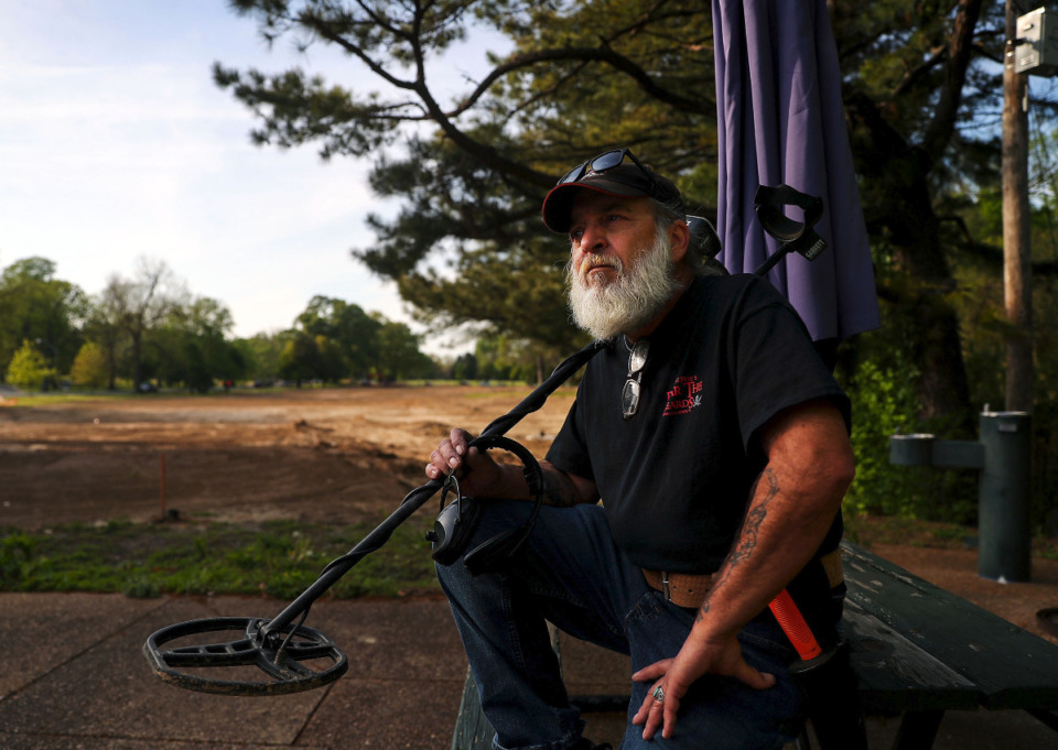 <strong>&ldquo;We call it &lsquo;dirt fishing&rsquo;,&rdquo; Steve Herr said of using a metal detector to search for hidden items in the soil. He&rsquo;s among the hobbyists who&nbsp; explored the golf course at Overton Park while the surface was being graded.&nbsp;</strong>(Patrick Lantrip/Daily Memphian)