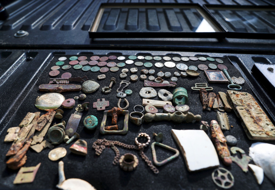 <strong>Many of the items Steve Herr has unearthed with his metal detector predate the founding of the park in the early 1900s by many decades.</strong> (Patrick Lantrip/Daily Memphian)