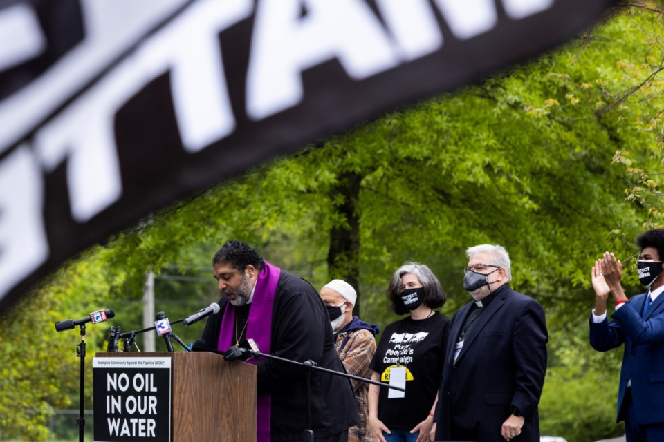 <strong>Rev. Dr. William Barber II, co-chair of the Poor People&rsquo;s Campaign, speaks during a rally supporting the Memphis Community Against the Pipeline at Alonzo Weaver Park.</strong> (Brad Vest/Special to The Daily Memphian)