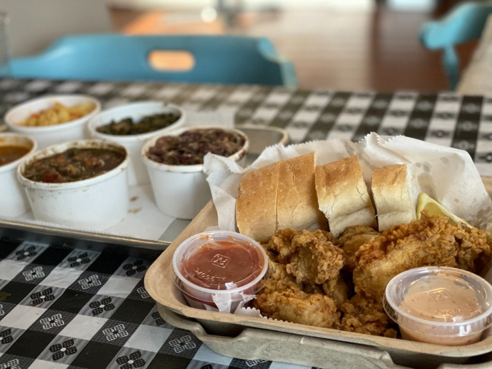 <strong>Fried oysters are excellent at Parish Grocery and come with two sides. A variety of New Orleans dishes like red beans and rice are available by the cup or bowl.</strong> (Jennifer Biggs/Daily Memphian)