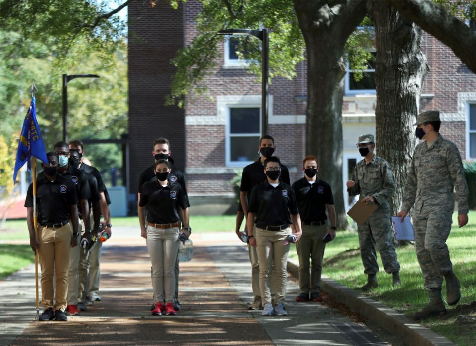 <strong>University of Memphis ROTC students practice marching in formation on campus Oct. 13, 2020.</strong> (Patrick Lantrip/Daily Memphian file)