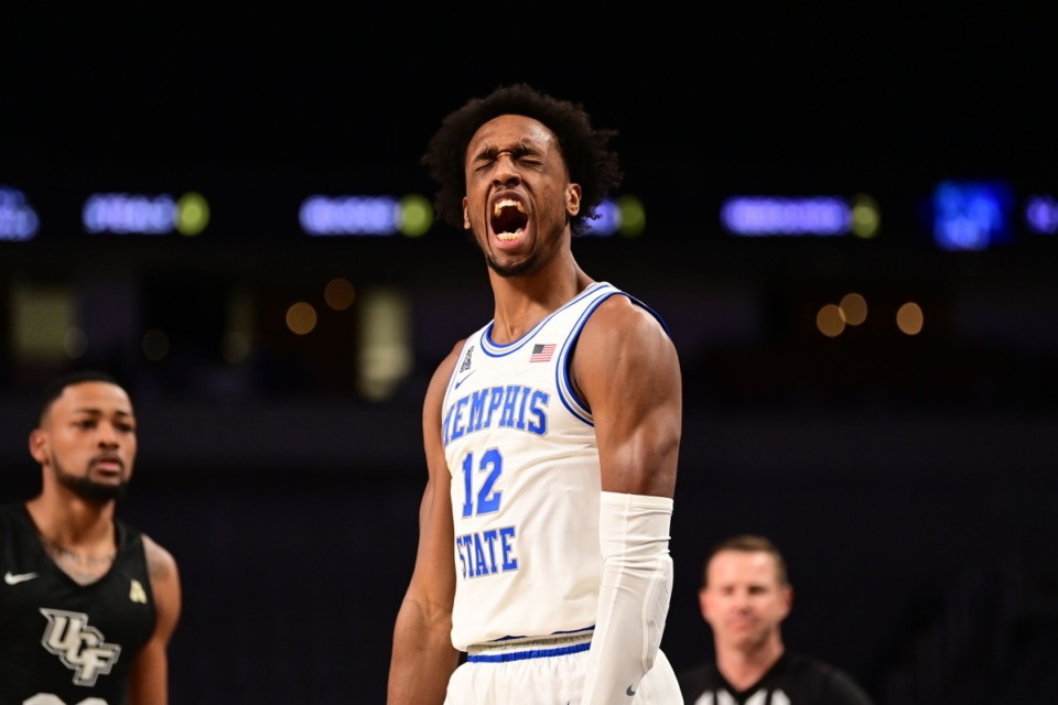 <strong>Deandre Williams has something to say on March 12, in the game against UCF.</strong> (Courtesy American Athletic Conference/Ben Solomon)