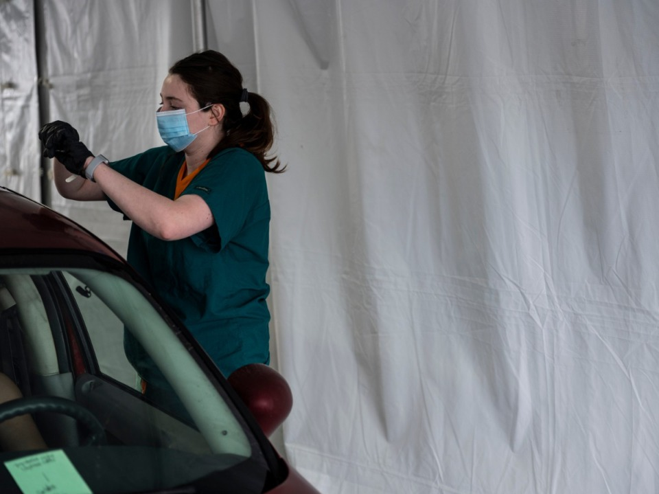 <strong>Shelby County Health Department personnel and volunteers administer COVID-19 vaccinations on Sunday, Feb. 21, 2021 at Southwest Tennessee Community College - Whitehaven Center.</strong> (Brad Vest/Special To The Daily Memphian file)