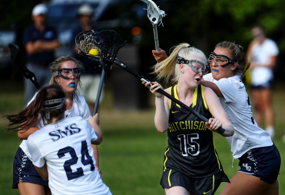 <strong>Hutchison's Sarah Davis McAllister (15) shoots on goal during the April 20 game against St. Mary's.</strong> (Patrick Lantrip/Daily Memphian)