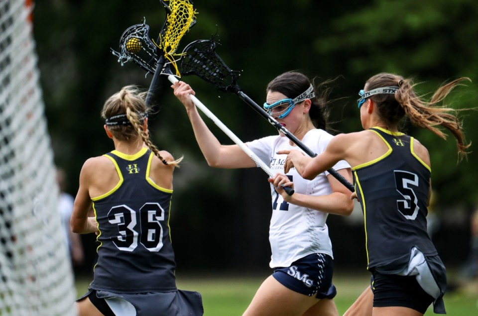 <strong>St. Mary's Rebekah Leventhal (17) shoots on goal during the April 20 game against Hutchison.</strong> (Patrick Lantrip/Daily Memphian)