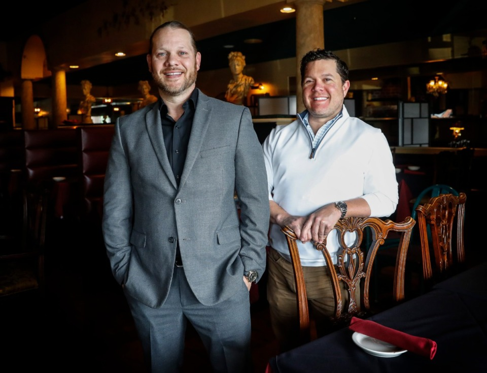 <strong>Villa Castrioti owners Aron Pullen (left) and Brian Leith stand in their restaurant on Thursday, April 15, 2021. The pair will be expanding soon, both at their current location and will open a second restaurant in The Lake District.</strong> (Mark Weber/Daily Memphian)