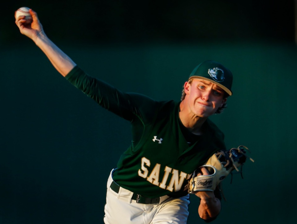 <strong>Briarcrest starting pitcher Mick Arney, seen here on April 12, needed only 76 pitches in Monday&rsquo;s 2-1 complete-game victory over Division 2-AA rival CBHS.</strong> (Mark Weber/The Daily Memphian file)