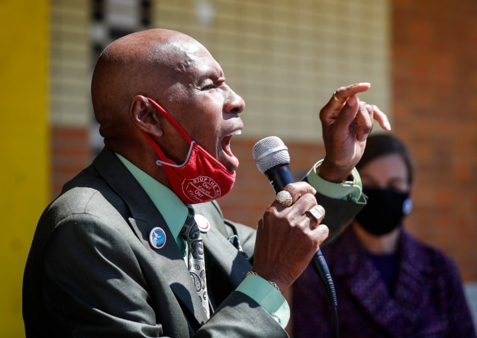 <strong>Stevie Moore, founder of Freedom From Unnecessary Negatives (F.F.U.N.), speaks during a press conference Thursday, April 22, for Saturday&rsquo;s Unity Walk Against Gun Violence event.</strong> (Mark Weber/Daily Memphian)