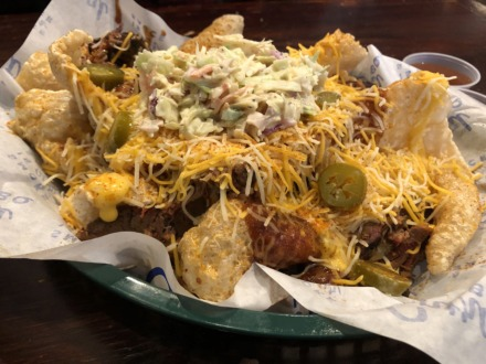 <strong>Pile your nachos high at Central BBQ, but start with house-made potato chips or pork rinds instead of tortilla chips.</strong> (Jennifer Biggs/Daily Memphian)