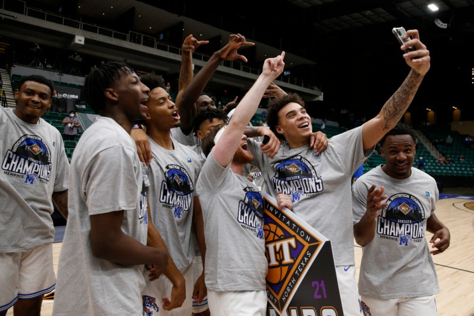 <strong>The Tigers celebrate winning the NIT basketball tournament on March 28, 2021. Alas, whatever lineup coach Penny Hardaway puts together this coming year, a number of these young men won&rsquo;t be on it.</strong> (courtesy NCAA file)