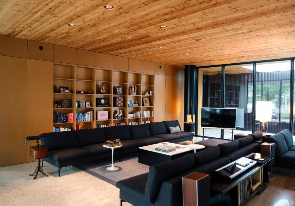 <strong>Cross laminated timber, the first used in the region, is used throughout the home.</strong> (Mark Weber/The Daily Memphian)