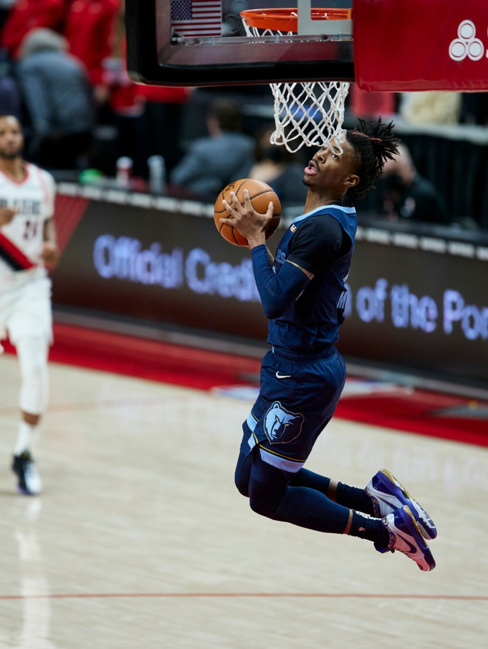 <strong>Memphis Grizzlies guard Ja Morant dunk against the Portland Trail Blazers during the second half of an NBA basketball game in Portland, Ore., Sunday, April 25, 2021.</strong> (Craig Mitchelldyer/AP)