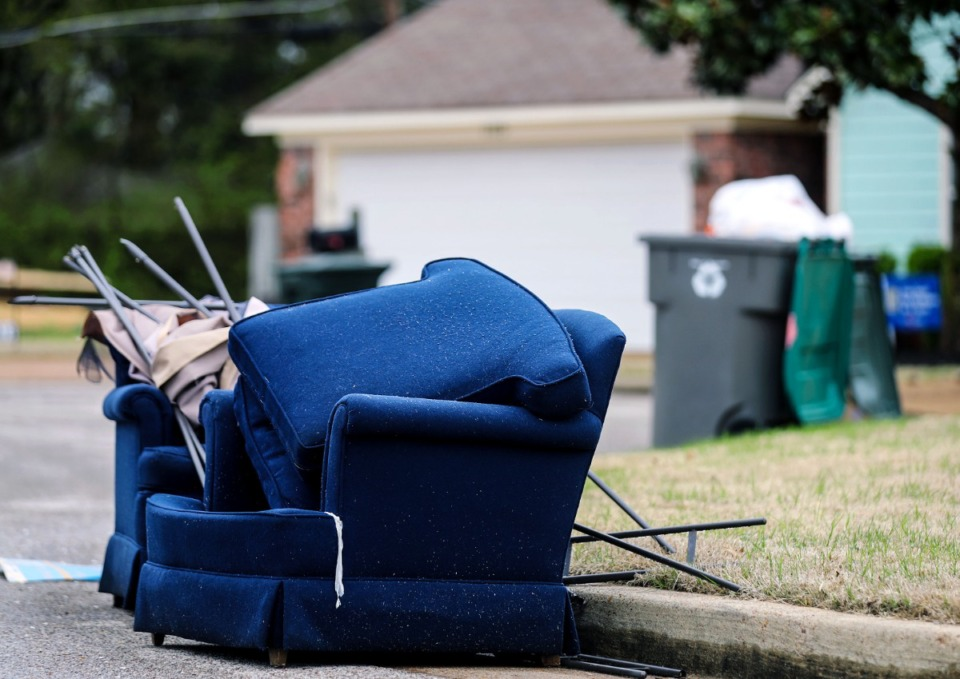 <strong>On old couch awaited pickup on the curb in Cordova, March 23, 2021.</strong> (Patrick Lantrip/Daily Memphian)