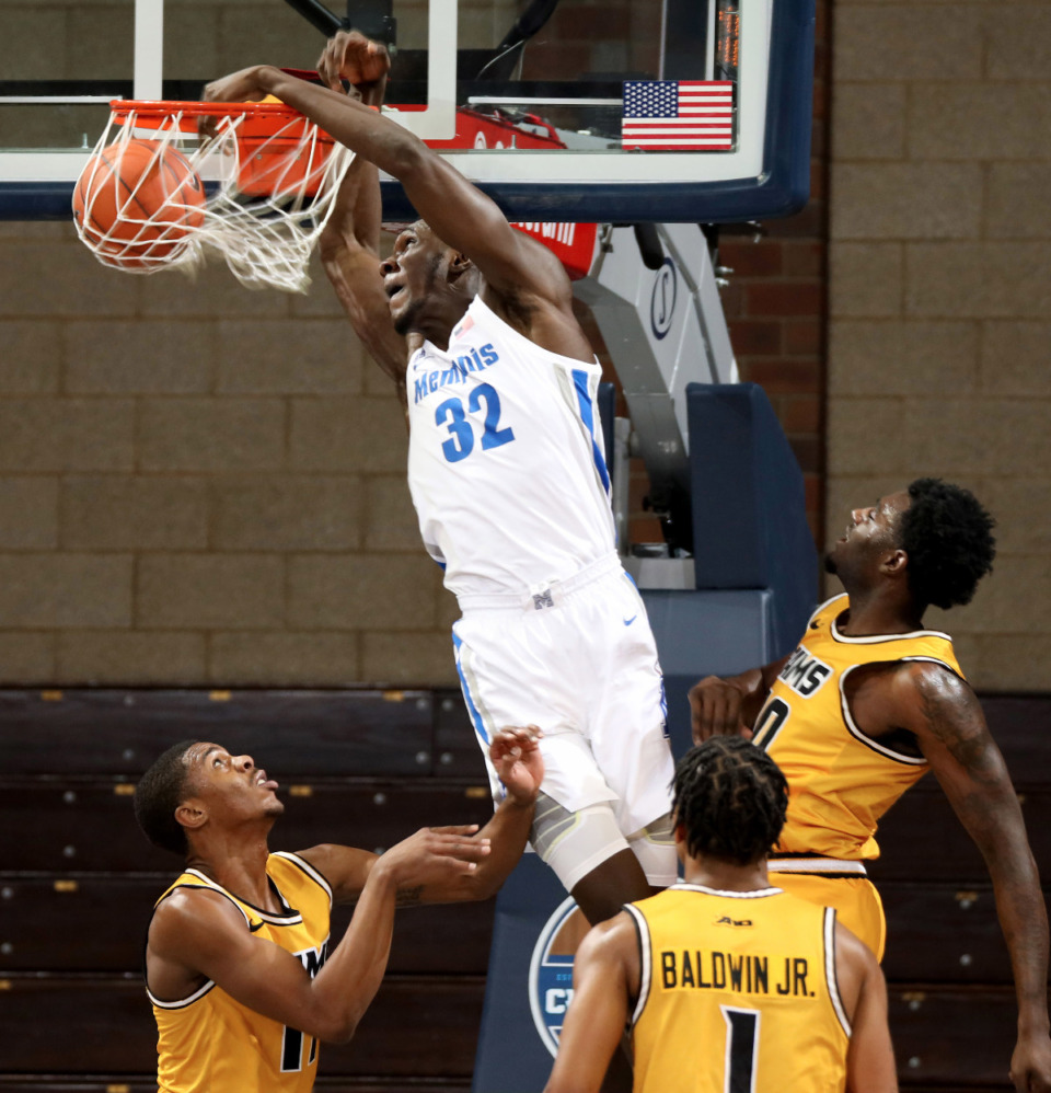 <strong>Center Moussa Cisse (in file photo) of the Memphis Tigers has entered the transfer portal according to a report.</strong> (Photo by Dave Eggen/Inertia file)