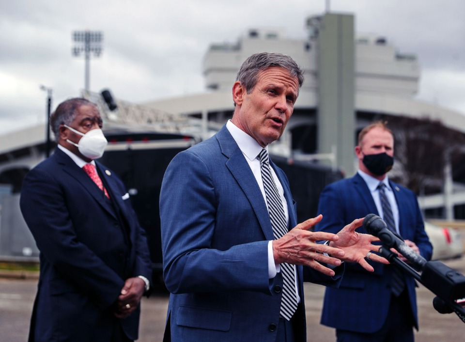<strong>Tennessee Gov. Bill Lee speaks at a Feb. 26, 2021 press conference outside of the Pipkin Building in Memphis.</strong> (Patrick Lantrip/Daily Memphian)