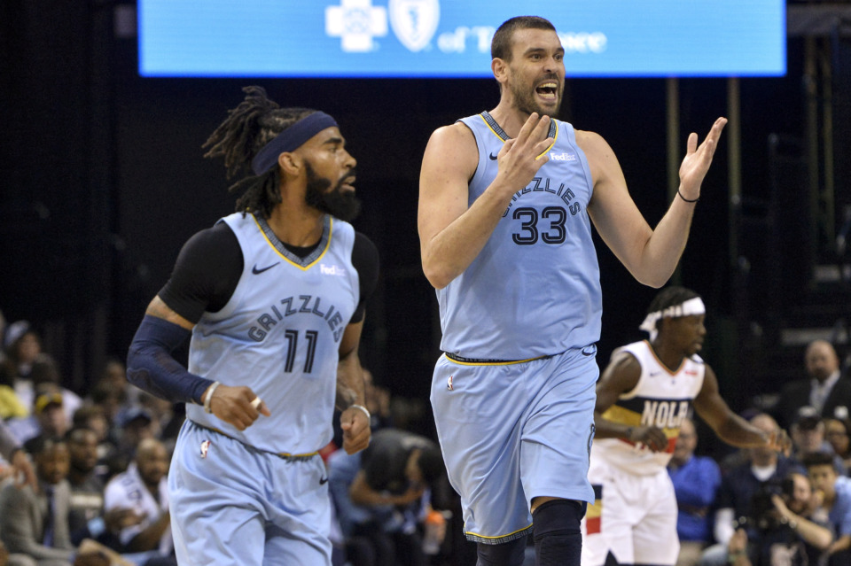 <span><strong>Memphis Grizzlies center Marc Gasol (33) reacts as he and guard Mike Conley (11) play in the first half of an NBA basketball game against the New Orleans Pelicans Monday, Jan. 21, 2019, in Memphis, Tenn.</strong> (AP Photo/Brandon Dill)</span>