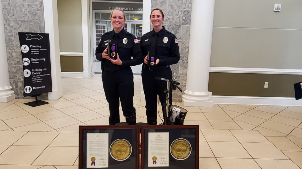 <div><strong>Collierville Police officers Rachel Tigner (left) and Jacqueline Conlan were awarded Purple Hearts and presented a state proclamation. They were injured in January during a traffic stop.&nbsp;</strong>(Submitted)</div>