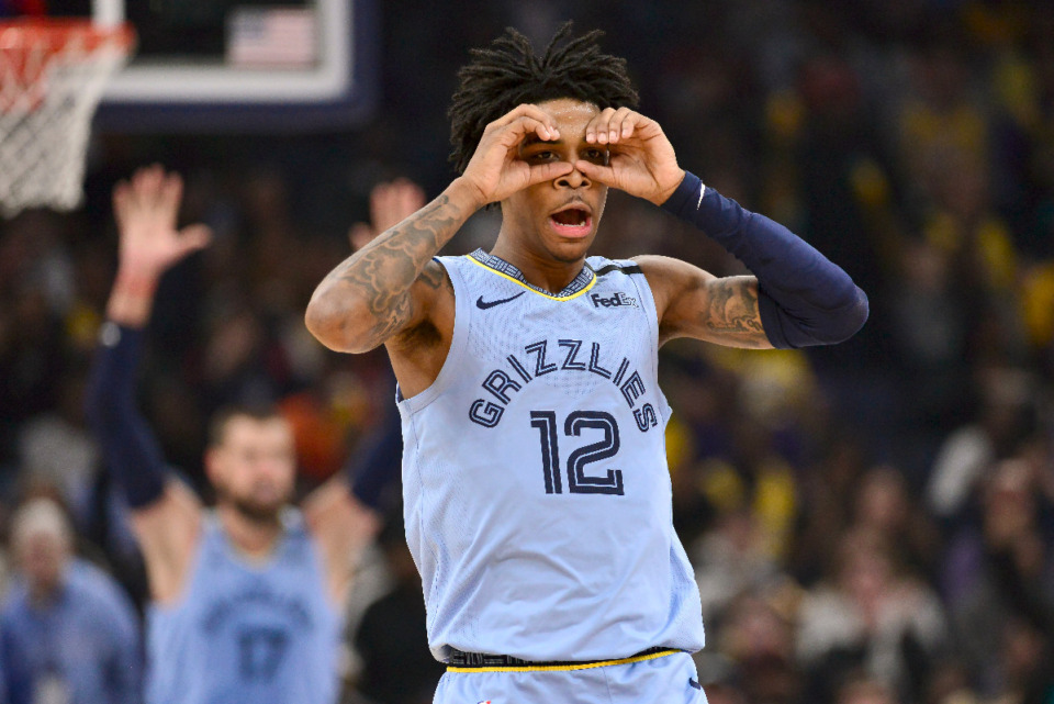 <strong>Memphis Grizzlies guard Ja Morant wants to see more fans at FedExForum to help the team as they make a push for the playoffs. </strong>(AP Photo/Brandon Dill file)
