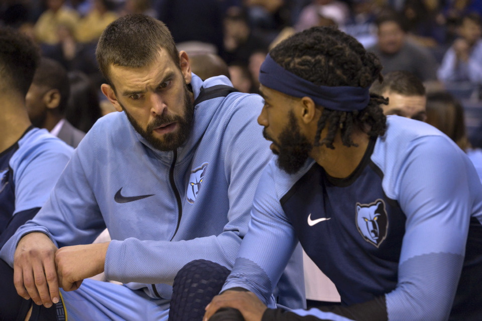 <span><strong>Memphis Grizzlies center Marc Gasol, left, and guard Mike Conley talk on the bench in the second half of an NBA basketball game against the Atlanta Hawks Friday, Oct. 19, 2018, in Memphis, Tenn.</strong> (AP Photo/Brandon Dill)</span>