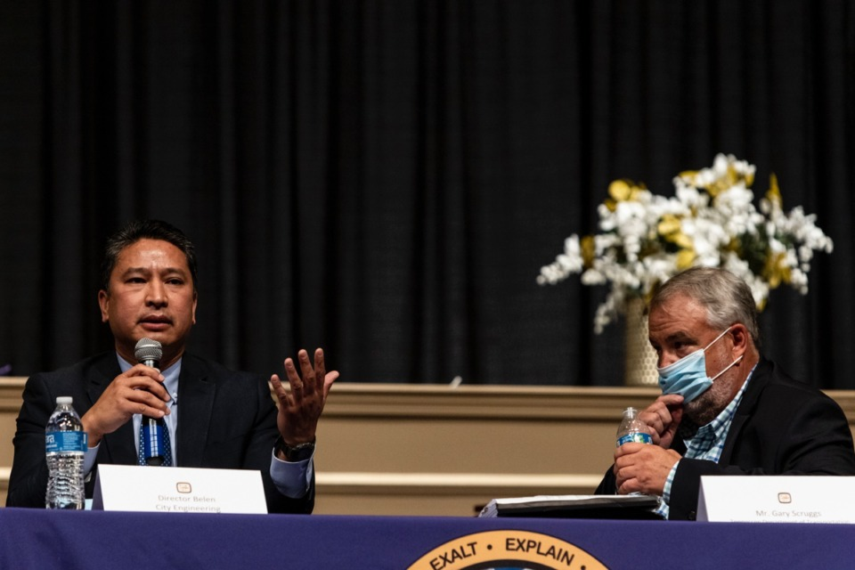 <strong>City Engineer and Engineering Division Director Manny Belen, left, speaks during the April 27 public meeting about Scott Street.</strong>&nbsp;(Brad Vest/Daily Memphian)