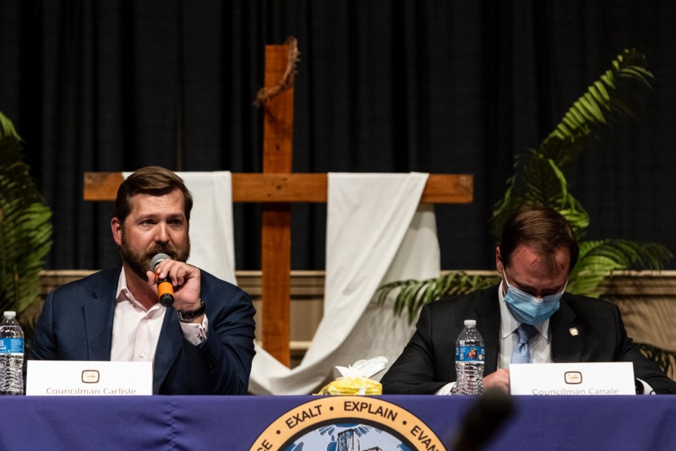 <strong>Councilman Chase Carlisle, left, speaks during the April 27 public meeting about Scott Street.</strong> (Brad Vest/The Daily Memphian