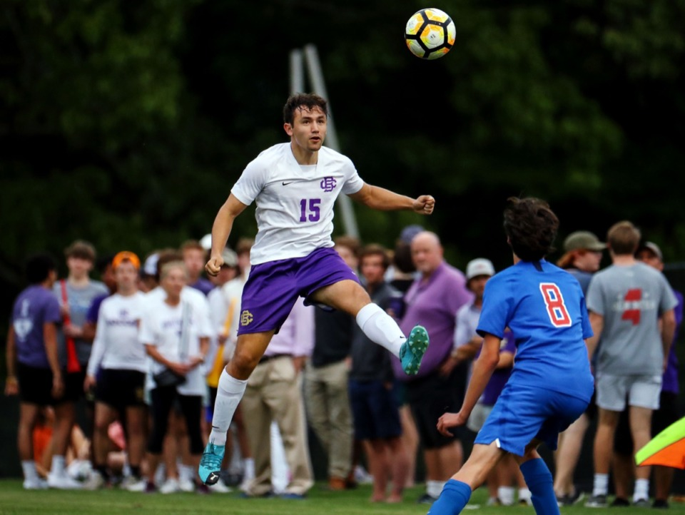 <strong>CBHS' Martin Wieckowski (15) lines up a header during the April 27 game against MUS.</strong> (Patrick Lantrip/Daily Memphian)