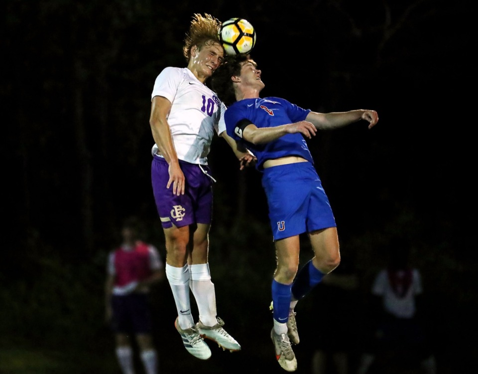 <strong>CBHS' Matty Wackerfuss (10) goes up for a header during the April 27 game against MUS.</strong> (Patrick Lantrip/Daily Memphian)