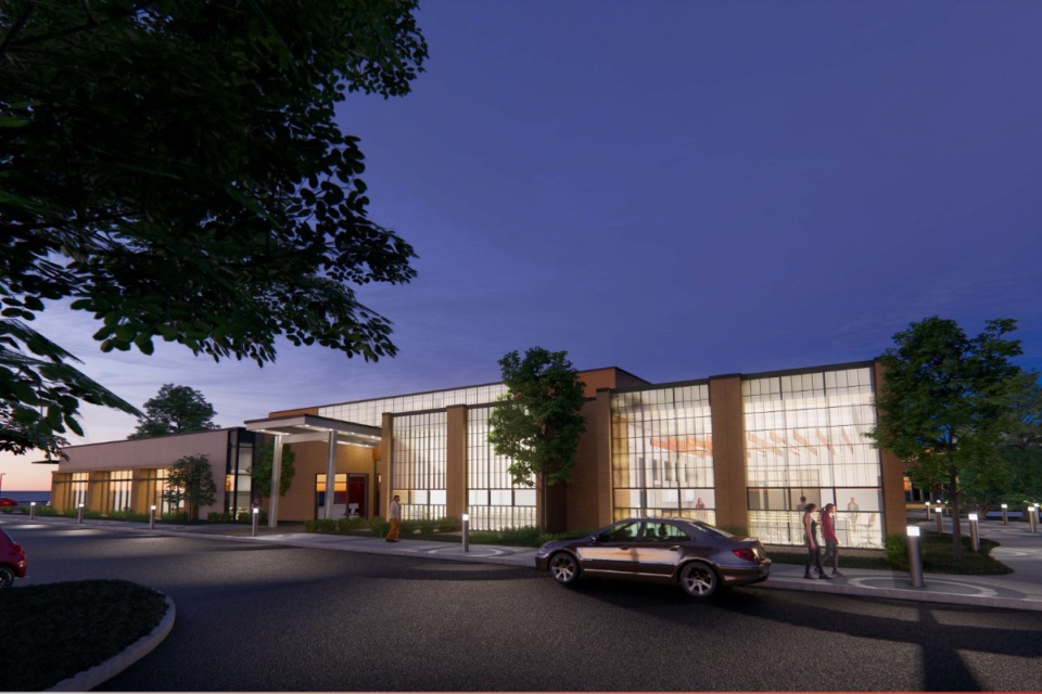 <strong>Rendering shows the main entry of the Houston Middle School addition that will include a secured entrance. The entrance will shift to Johnson Road.</strong> (Submitted)