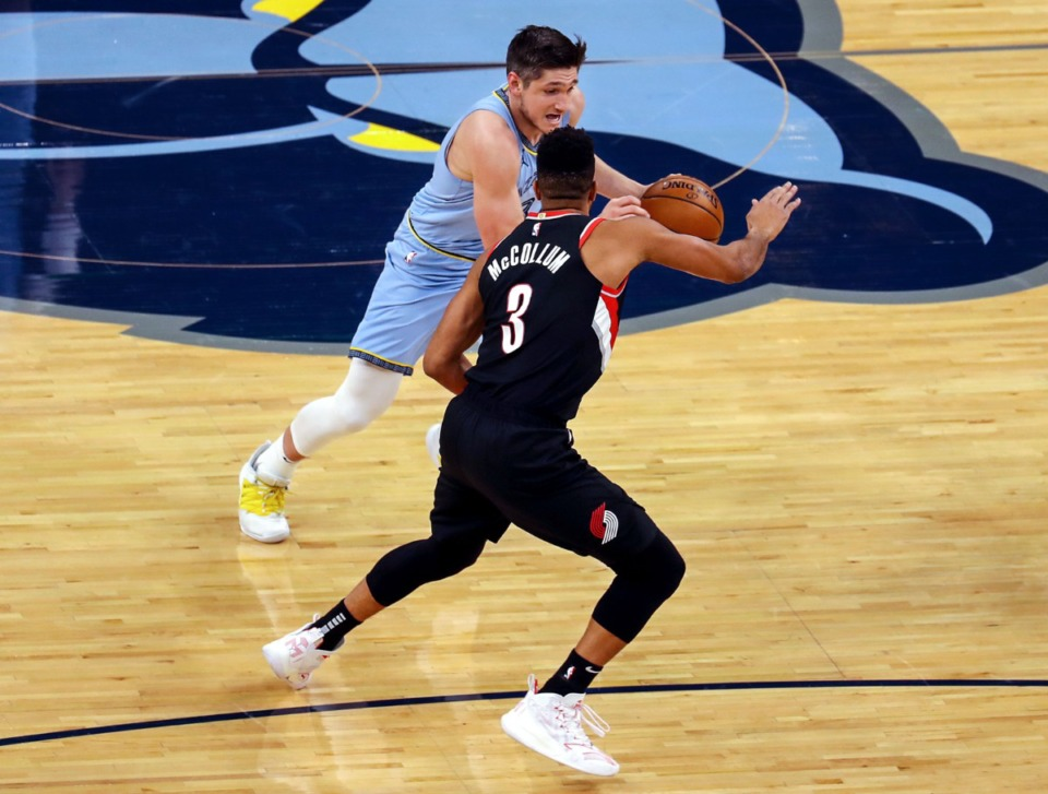 <strong>Grizzlies guard Grayson Allen (3) brings the ball upcourt against Portland on April 28 at FedExForum.</strong> (Patrick Lantrip/Daily Memphian)