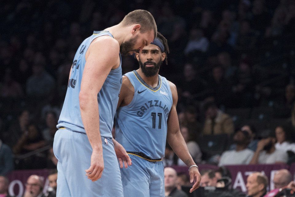 <span><strong>Memphis Grizzlies guard Mike Conley (11) and center Marc Gasol react the second half of an NBA basketball game against the Brooklyn Nets, Friday, Nov. 30, 2018, in New York. The Grizzlies won 131-125.</strong> (AP Photo/Mary Altaffer)</span>