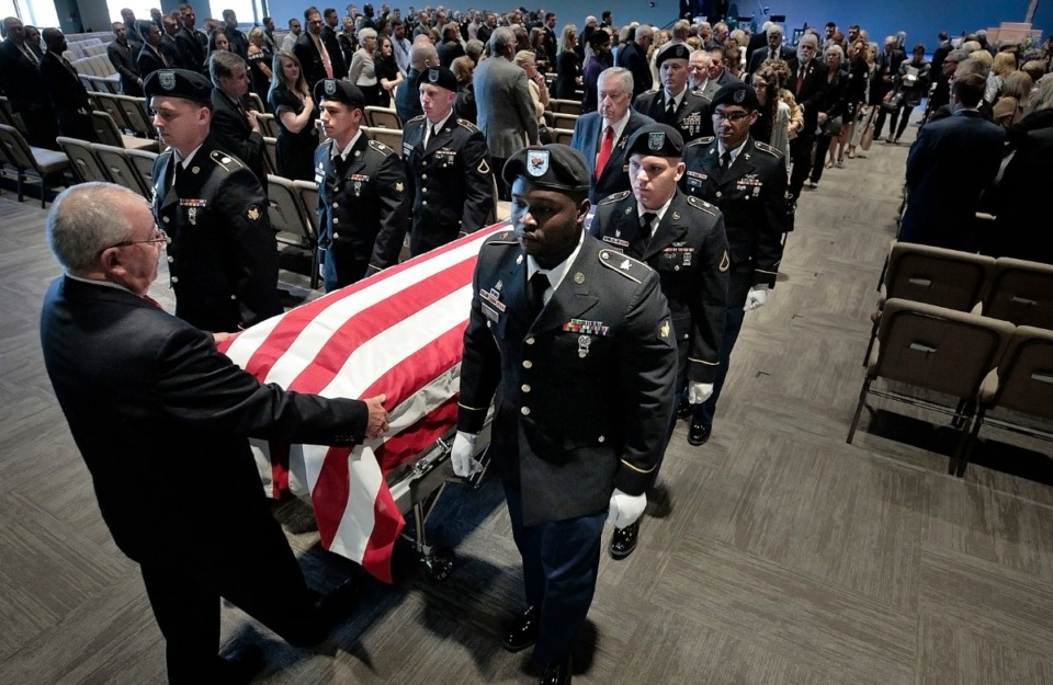 <strong>An honor guard escorts the casket of Maj. Trevor Joseph after a memorial service at Harvest Church on Oct. 8, 2019. The Tennessee House and Senate passed a bill this week allowing Saturday burials&nbsp;at West Tennessee Veterans Cemetery. When Joseph died, his family was not allowed to have a Saturday burial.</strong> (Jim Weber/Daily Memphian file)