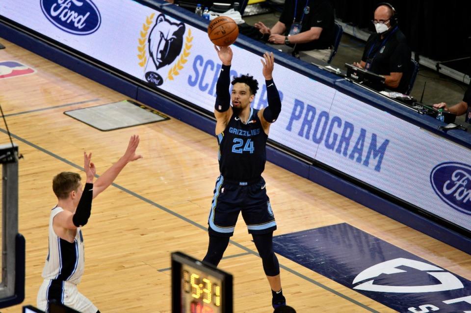 <strong>&nbsp;Grizzlies forward Dillon Brooks (24) shoots against the Orlando Magic on April 30 at FedExForum.</strong> (Brandon Dill/AP)