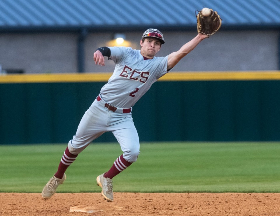 <strong>ECS short stop Tucker White stretches to snag a hit past second base in Friday's game against Collierville.</strong> (Greg Campbell/Special to The Daily Memphian)