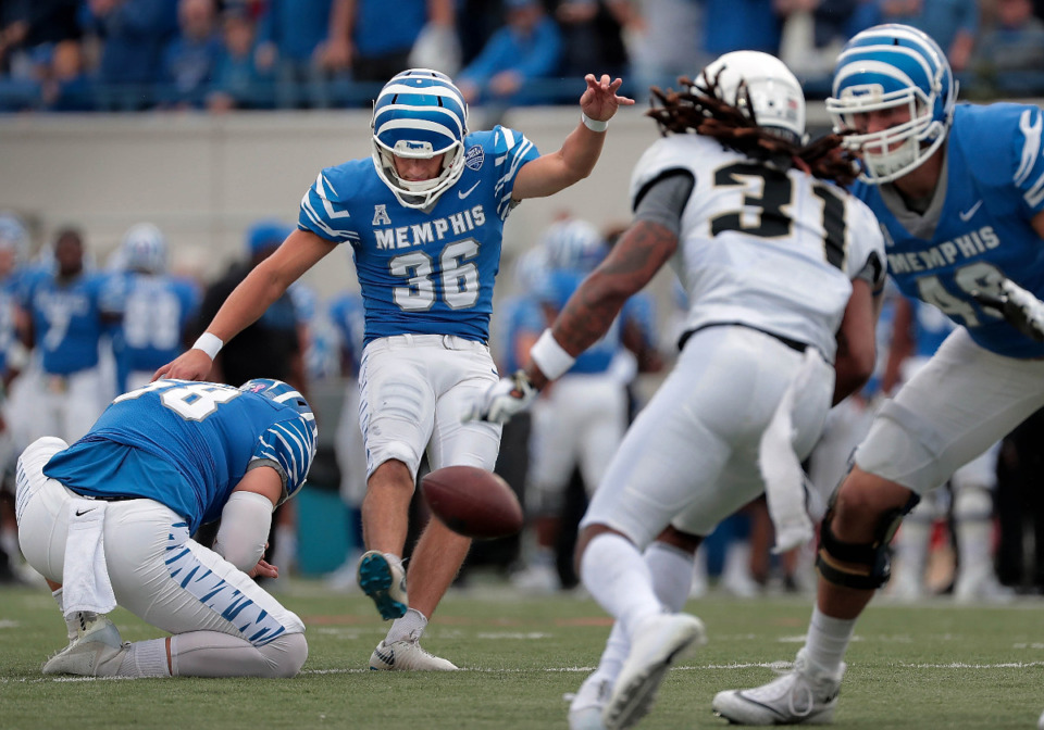 <strong>Riley Patterson (36), one of the most prolific kickers in school history, was the first to sign an undrafted free-agent deal. The U of M announced he was signing with the Minnesota Vikings.</strong> (Jim Weber/Daily Memphian file)
