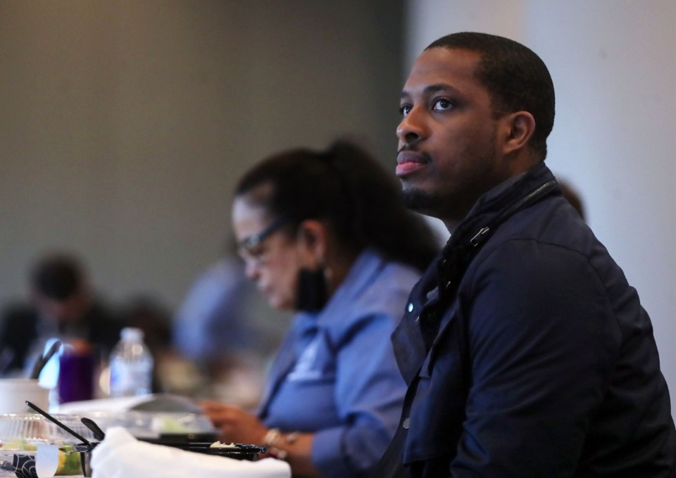 <strong>Memphis City Council member JB Smiley listens on during a May 1, 2021 retreat at the Renasant Convention Center.</strong> (Patrick Lantrip/Daily Memphian)