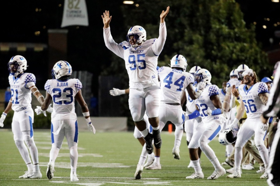 <strong>Former Cordova player Quinton Bohanna (95, celebrating during an NCAA game against Vanderbilt, Nov. 16, 2019 in Nashville) was taken by the Dallas Cowboys in the sixth round with the 191st pick.</strong> (Mark Humphrey/AP file)