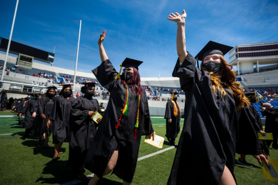 <strong>Sophie Williams (right) graduates with her mother Penny Williams Saturday, May 1 during a commencement for&nbsp; Southwest Community College at&nbsp; Liberty Bowl Memorial Stadium.</strong> (Ziggy Mack/Special to Daily Memphian)