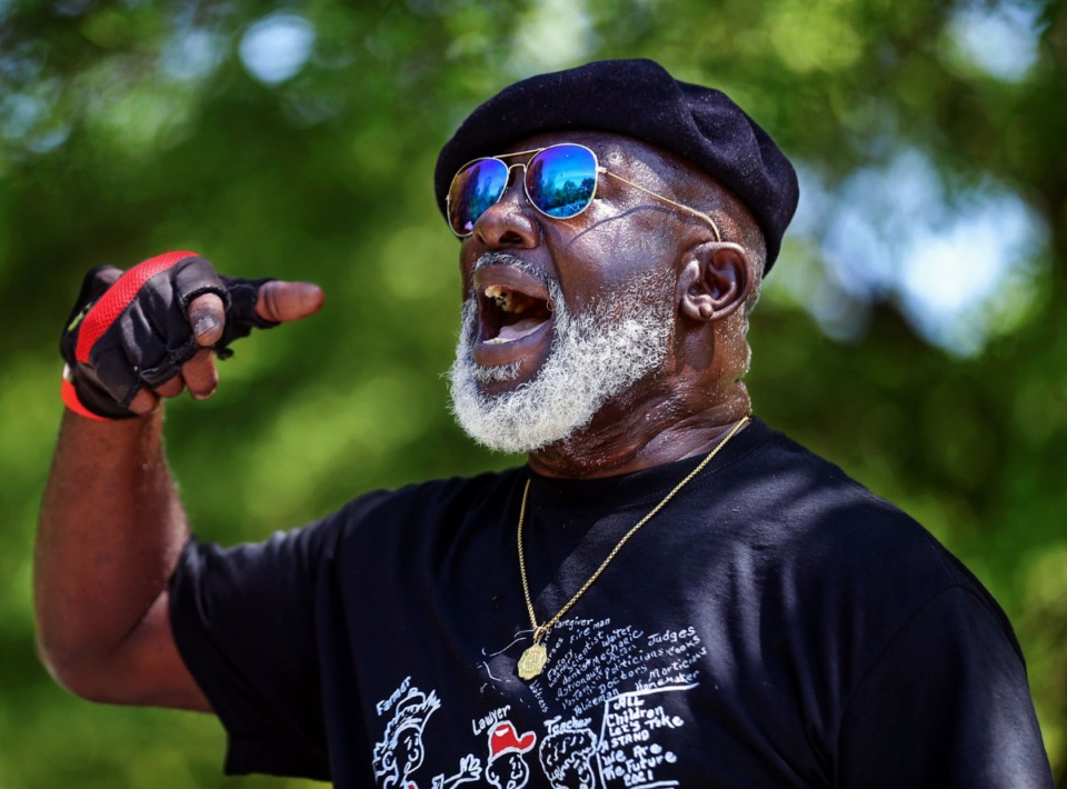 <strong>Boxtown resident Batsell Booker speaks at a rally against the Byhalia Pipeline at Alonzo Weaver Park May 1, 2021.</strong> (Patrick Lantrip/Daily Memphian)