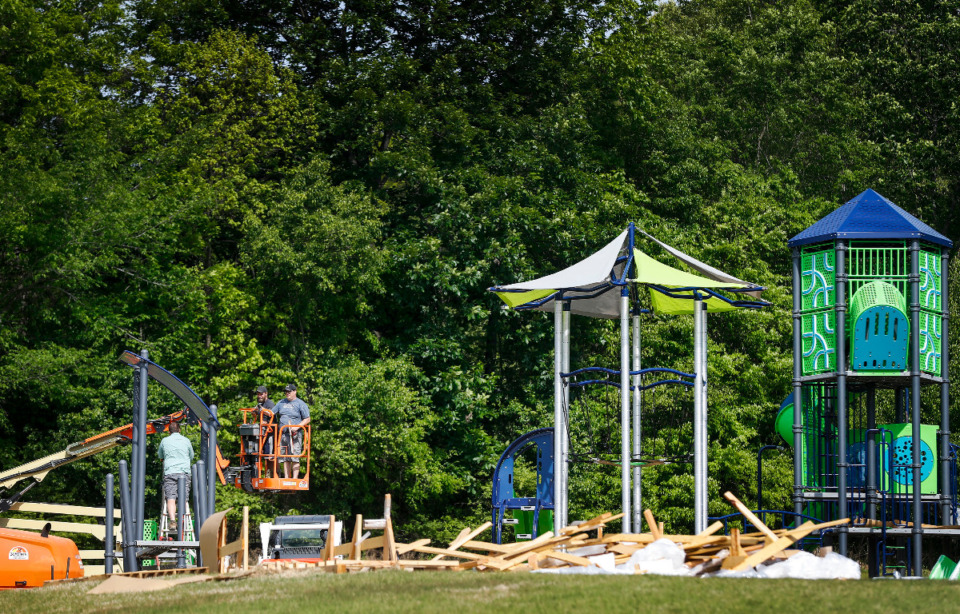 <strong>Construction begins on the new $230,000 Oak Ridge community playground in Lakeland on Tuesday, April 27, 2021.</strong> (Mark Weber/The Daily Memphian)