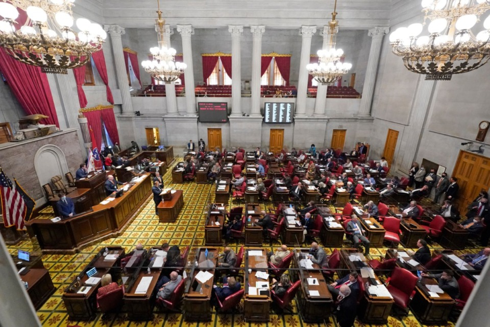 <strong>Members of the Tennessee House have passed a bill that requires businesses or government facilities open to the public to post a sign if they let transgender people use multi-person restrooms, locker rooms or changing rooms.</strong> (Mark Humphrey/AP file)