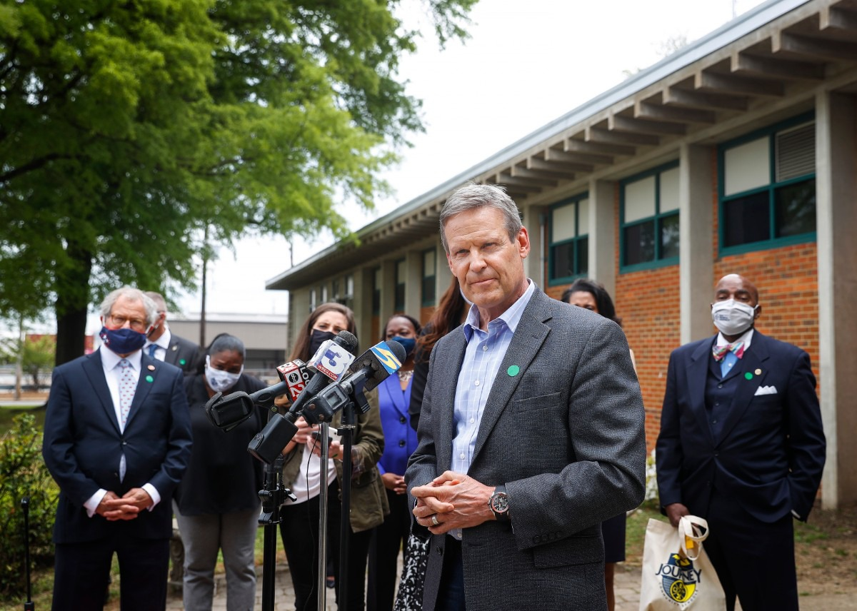 <strong>Gov. Bill Lee fields question from the media after meeting teachers and students at Hanley Elementary on Friday, April 23, 2021, in Orange Mound.</strong> (Mark Weber/The Daily Memphian)