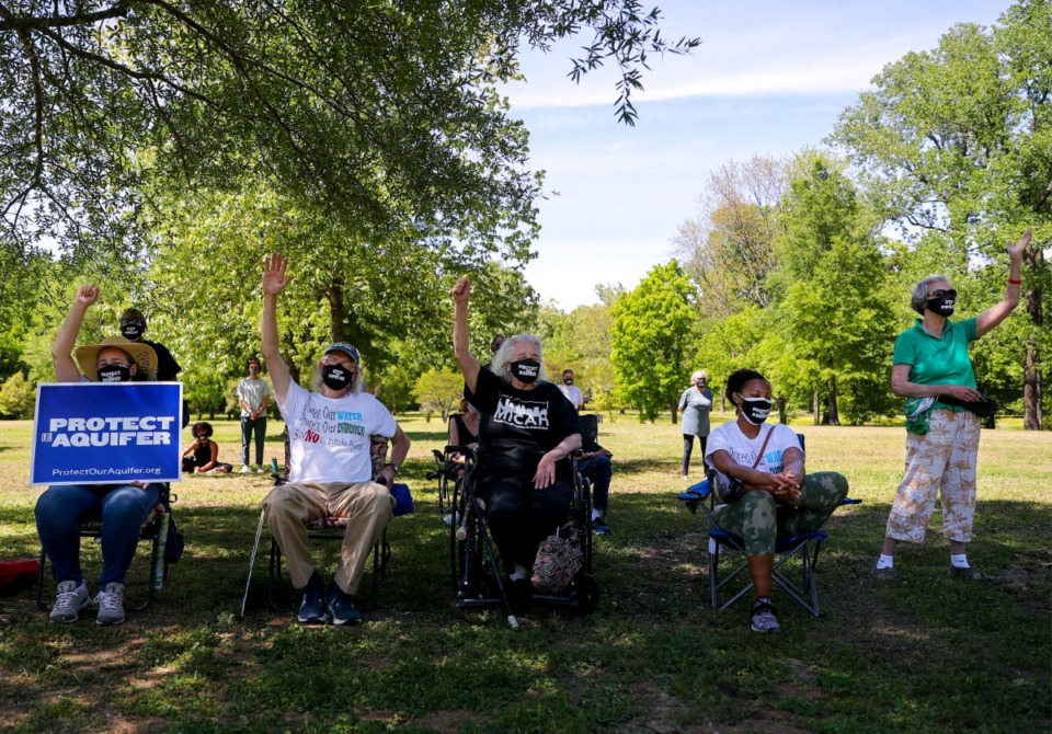 <strong>Several dozen people gathered at a rally against the proposed Byhalia Connection Pipeline at Alonzo Weaver Park on May 1, 2021.</strong> (Patrick Lantrip/Daily Memphian)