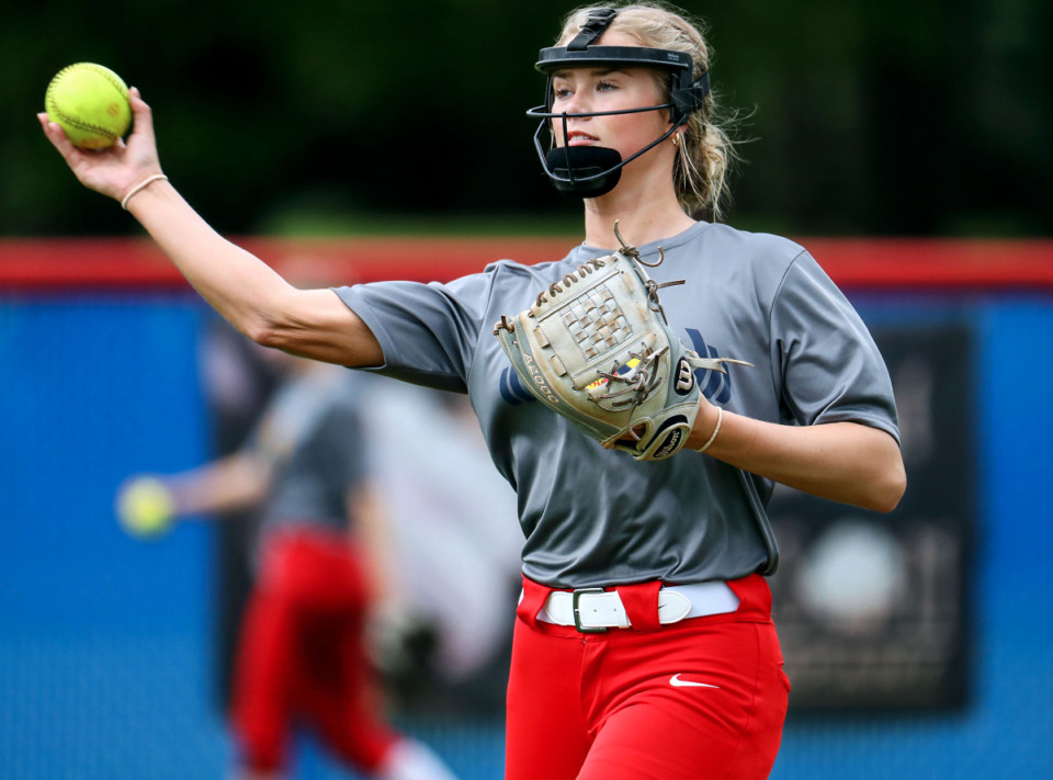 <strong>Tipton-Rosemark's Addie Glass throws the ball during an April 30, 2021 practice.</strong> (Patrick Lantrip/Daily Memphian)