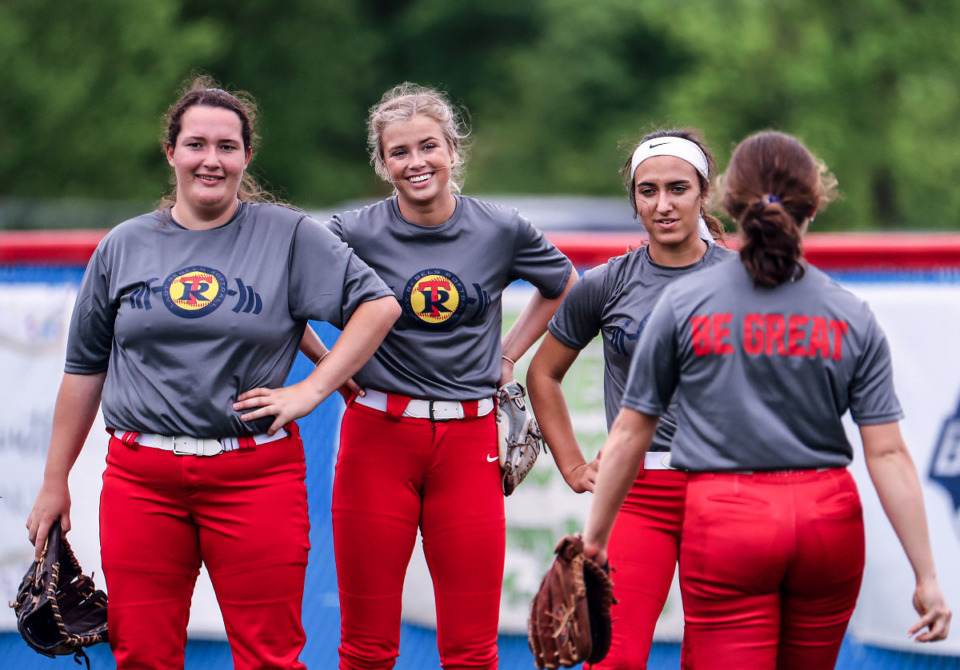 <strong>Tipton-Rosemark softball players Charli Rice, Addie Glass and Kayla Clement watch teammates shag fly balls.</strong> (Patrick Lantrip/Daily Memphian)<strong><br /></strong>
