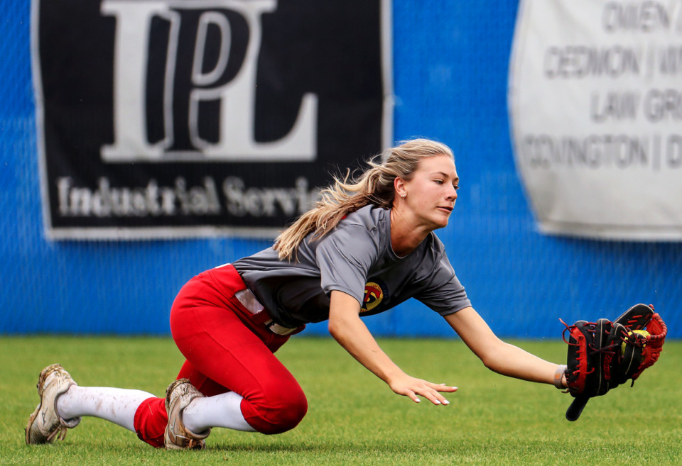 <strong>Tipton-Rosemark's Sophie Roane dives for a fly ball during an April 30, 2021 practice.</strong> (Patrick Lantrip/Daily Memphian)