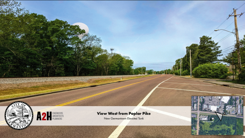 <strong>The Germantown Planning Committee approved a water tower on the east side of Germantown during its May 4 meeting. Renderings show a white tower hovering above the trees, west of the current cell tower.</strong> (Courtesy of the City of Germantown)