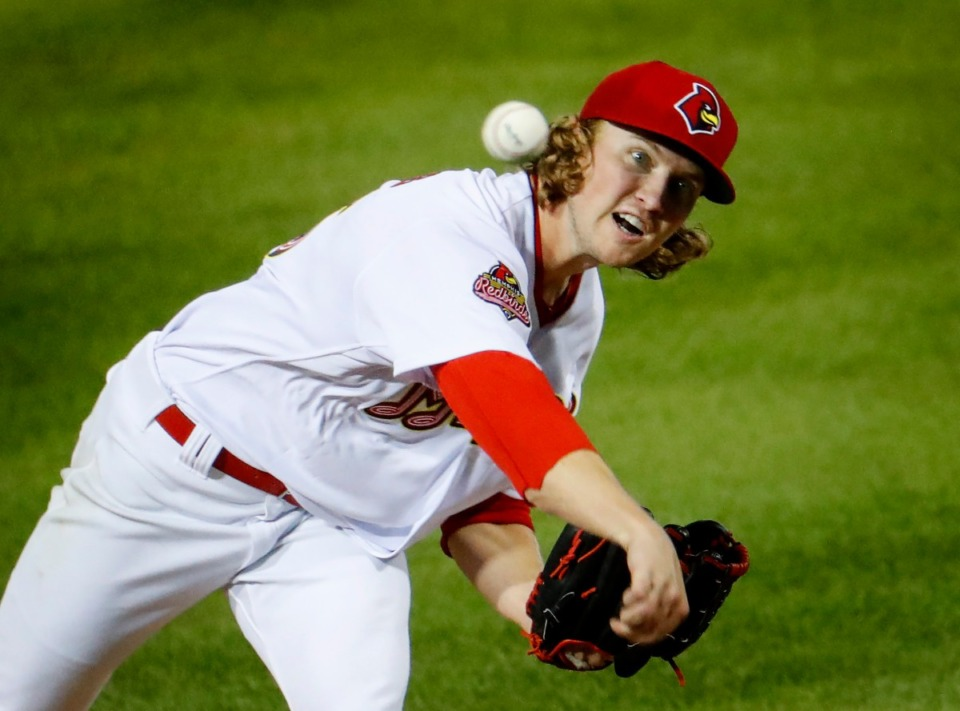 <strong>Redbirds starting pitcher Thomas Parsons makes a pitch against the Durham Bulls on May 4, 2021, as baseball returns to AutoZone Park.</strong>&nbsp;(Mark Weber/The Daily Memphian)