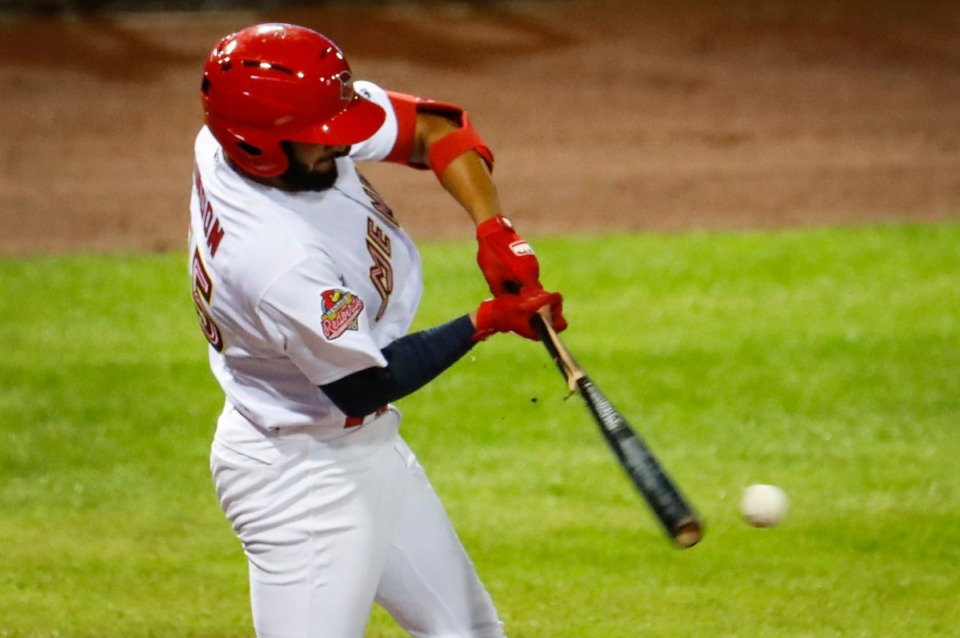 <strong>Redbirds batter Jos&eacute; Rond&oacute;n cracks his bat while taking on the Durham Bulls on May 4 at AutoZone Park.</strong> (Mark Weber/The Daily Memphian)