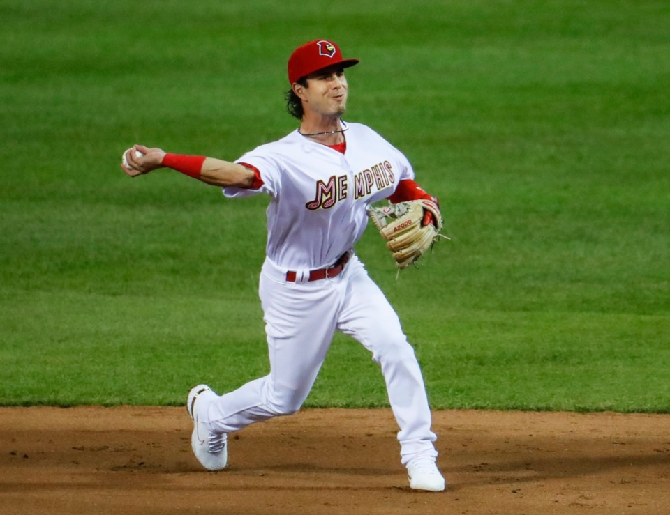 <strong>Redbirds second baseman Kramer Robertson makes a throw to first base for an out against the Durham Bulls on May 4, 2021, at AutoZone Park.</strong> (Mark Weber/The Daily Memphian)